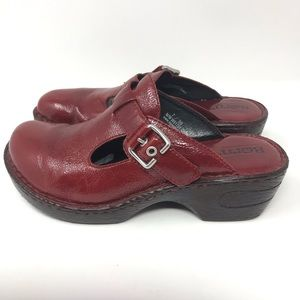 Born Red Leather Mules Size 7
